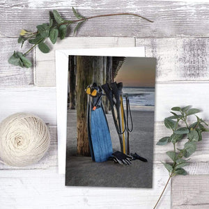 Freediving At The Pier - Greeting Card - Santa Cruz Art Prints