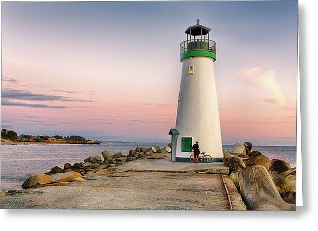 A Bicyclist At Lighthouse - Greeting Card - Santa Cruz Art Prints