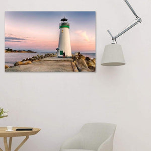A Bicyclist At Lighthouse - Canvas Print - Santa Cruz Art Prints