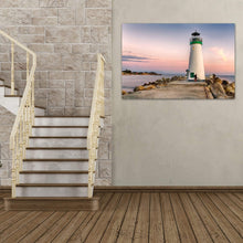 Load image into Gallery viewer, A Bicyclist At Lighthouse - Art Print - Santa Cruz Art Prints