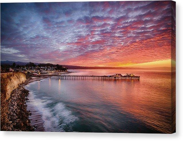 Capitola Wharf At Sunrise - Canvas Print - Santa Cruz Art Prints