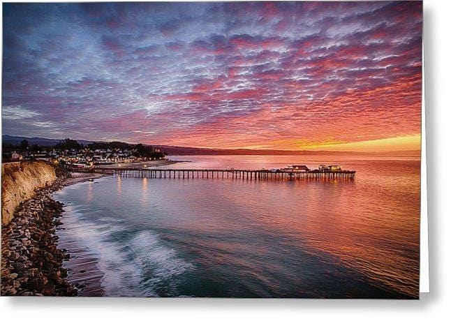Capitola Wharf At Sunrise - Greeting Card - Santa Cruz Art Prints