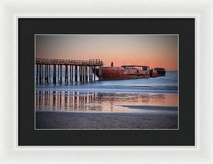 Cement Ship At Sunset - Framed Print - Santa Cruz Art Prints
