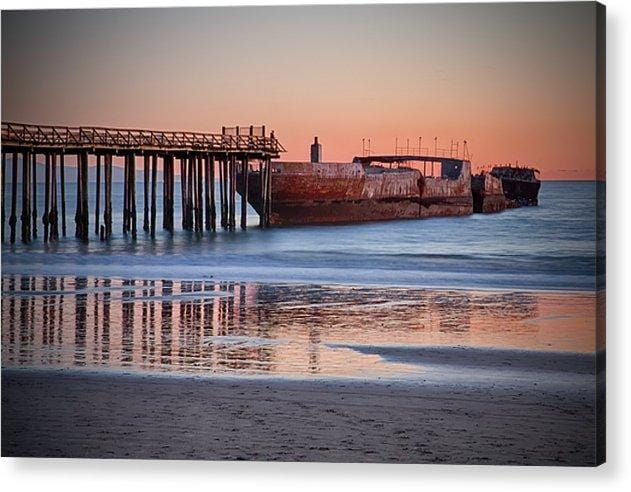 Cement Ship At Sunset - Acrylic Print - Santa Cruz Art Prints