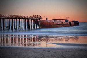 Cement Ship At Sunset - Art Print - Santa Cruz Art Prints