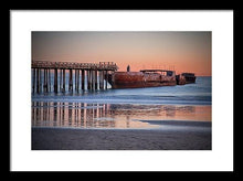 Load image into Gallery viewer, Cement Ship At Sunset - Framed Print - Santa Cruz Art Prints