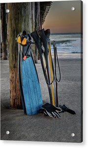 Freediving At The Pier - Acrylic Print - Santa Cruz Art Prints