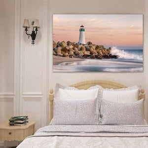 The Harbor Lighthouse - Bedroom Metal Print