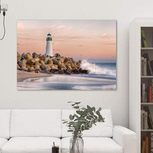 The Harbor Lighthouse - Living Room Metal Print