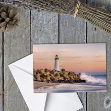 Load image into Gallery viewer, A Bicyclist At Lighthouse - Greeting Card - Santa Cruz Art Prints