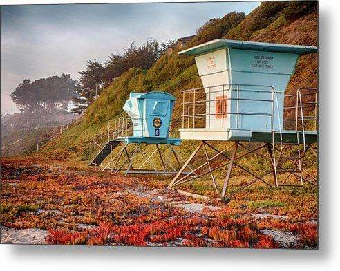Lifeguard Towers in Winter - Metal Wall Art Prints
