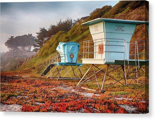 Life Guard Towers In Winter - Canvas Print - Santa Cruz Art Prints