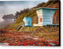 Load image into Gallery viewer, Life Guard Towers In Winter - Canvas Print - Santa Cruz Art Prints