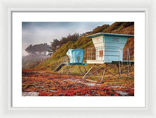 Load image into Gallery viewer, Life Guard Towers In Winter - Framed Print - Santa Cruz Art Prints
