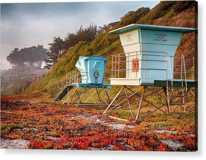 Life Guard Towers In Winter - Acrylic Print - Santa Cruz Art Prints
