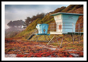 Life Guard Towers In Winter - Framed Print - Santa Cruz Art Prints