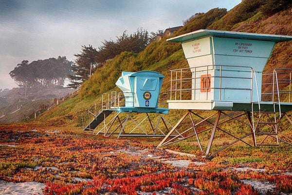 Life Guard Towers In Winter - Art Print - Santa Cruz Art Prints