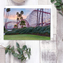 Load image into Gallery viewer, Santa Cruz Roller Coaster At Sunrise - Greeting Card - Santa Cruz Art Prints