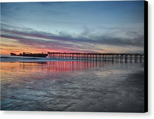 Silhouette Of Seacliff Pier - Canvas Print - Santa Cruz Art Prints