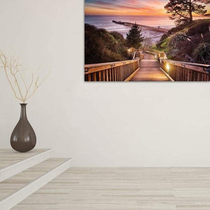 Stairway to the Sunset - Hallway Metal Wall Art Print
