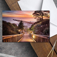 Load image into Gallery viewer, Stairway To The Sunset - Greeting Card - Santa Cruz Art Prints