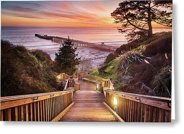 Stairway To The Sunset - Greeting Card - Santa Cruz Art Prints