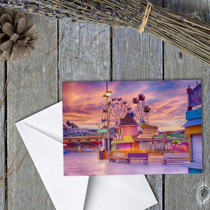 Sunrise On The Boardwalk - Greeting Card - Santa Cruz Art Prints