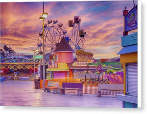 Sunrise On The Boardwalk - Canvas Print - Santa Cruz Art Prints