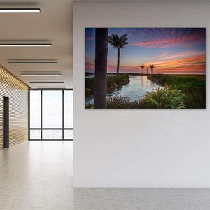 Sunset in the Palms - Office Metal Wall Art Print