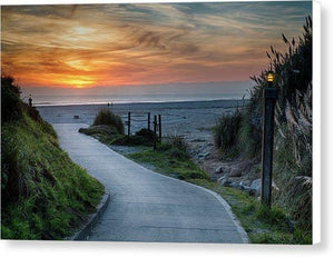 Sunset On The Beach - Canvas Print - Santa Cruz Art Prints