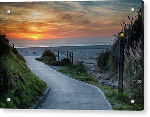 Sunset On The Beach - Acrylic Print - Santa Cruz Art Prints