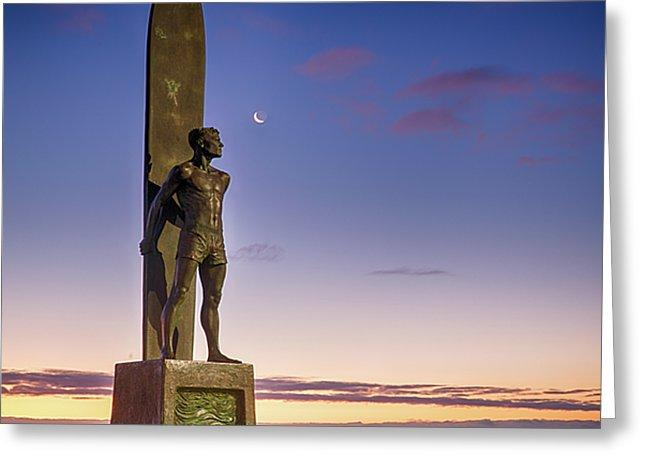 Surf Statue Gazes At Moon  - Greeting Card - Santa Cruz Art Prints