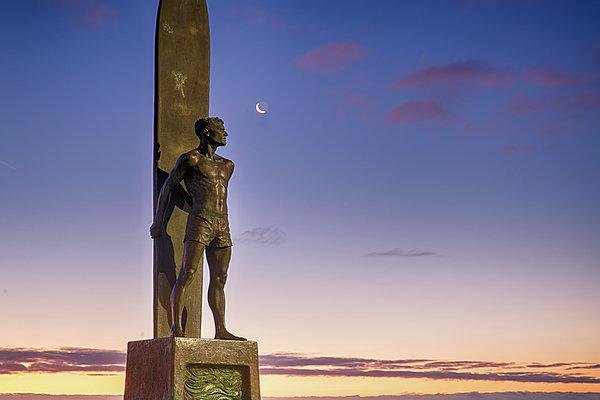 Surf Statue Gazes At Moon  - Art Print - Santa Cruz Art Prints