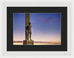 Surf Statue Gazes At Moon  - Framed Print - Santa Cruz Art Prints