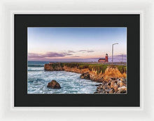 Load image into Gallery viewer, Surfing Museum At Sunrise - Framed Print - Santa Cruz Art Prints