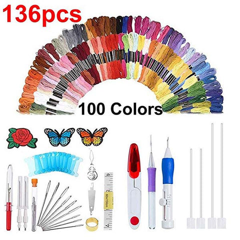 Rainbow Color Embroidery Threading Tool 136 Sets F7A5