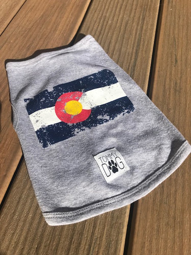 Dog Tee - Distressed Colorado Flag