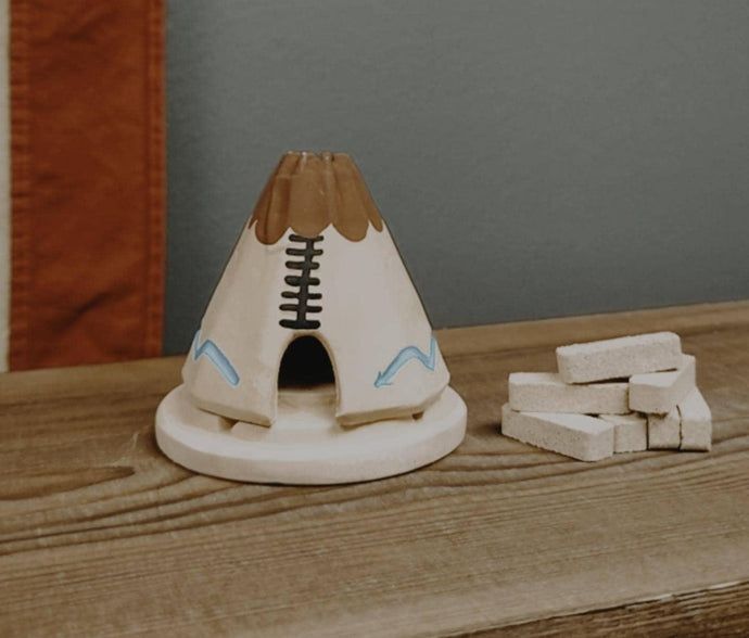 Teepee Incense Burner - White Turquoise