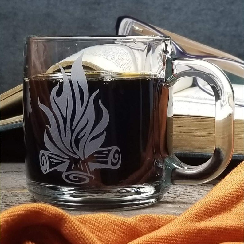 Campfire Etched Glass Coffee Mug