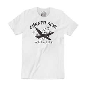 Black Font And Aircraft Logo on Tee