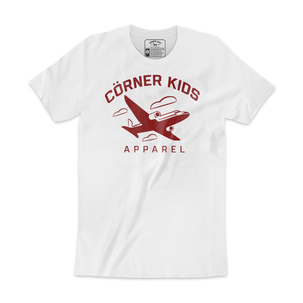 Crewneck Mens RED-ON-WHITE Logo Tee