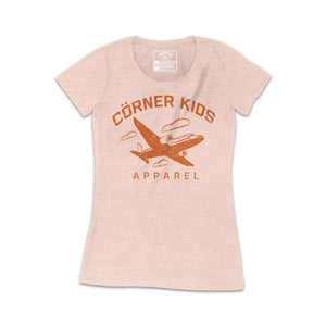 Women Peach Tee wit Aircraft logo