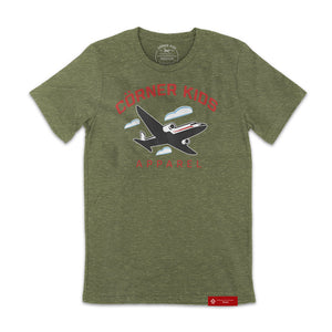 Unisex Crewneck Mens OLIVE-FRONT Tee with airplane logo