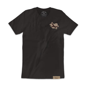Black Seude Patch Unisex Tee With Airplane Logo