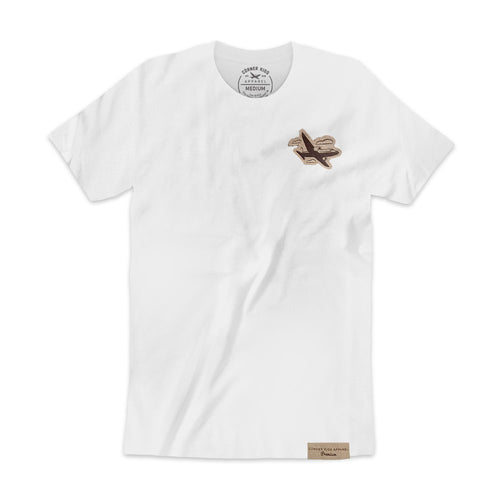 Suede Patch Tee With Airplane Logo - White