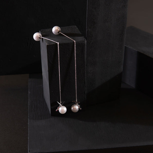 White Pearl Dangling Earrings ER-156