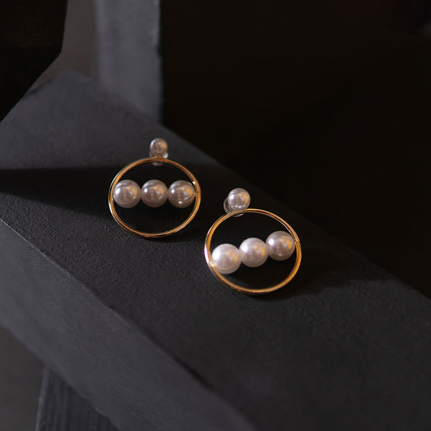 3 Pearl Hoop Earrings ER-152