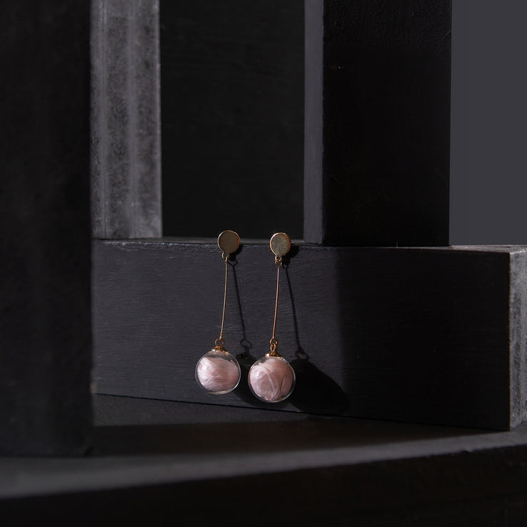 Pink Ball Dangling Earrings ER-155