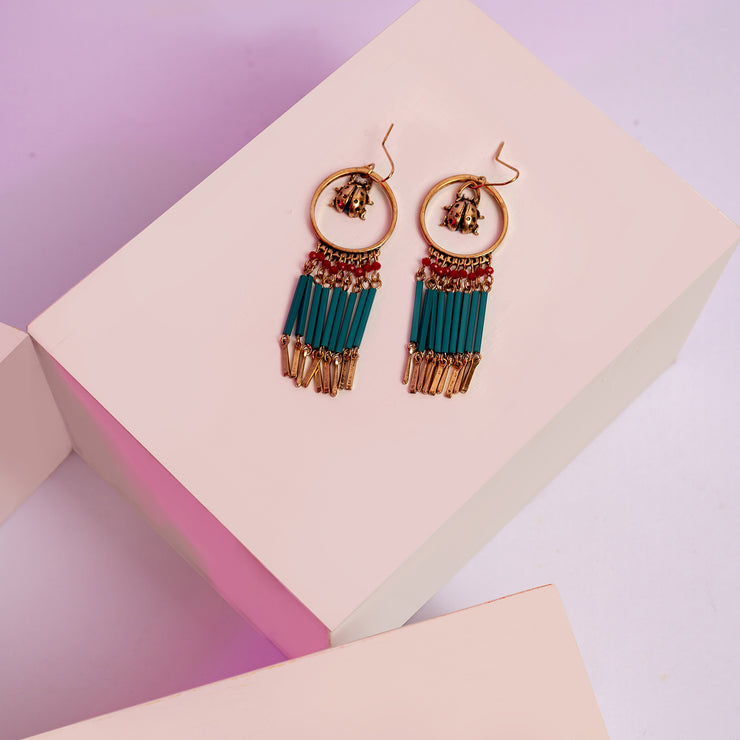 Teal Bee Earrings ER-161