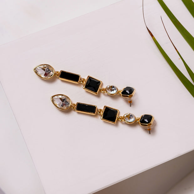 Black Stone Dangling Earrings ER-144